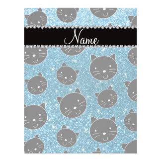 Custom name sky blue glitter black cat faces custom flyer