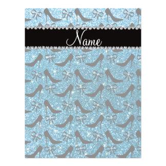 Custom name sky blue glitter black high heels bow full color flyer