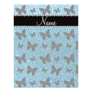 Custom name sky blue glitter butterflies full color flyer