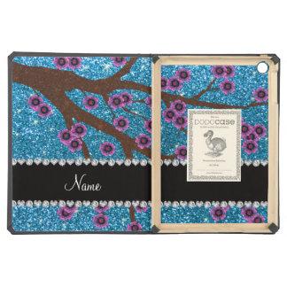 Custom name sky blue glitter cherry blossoms iPad air case