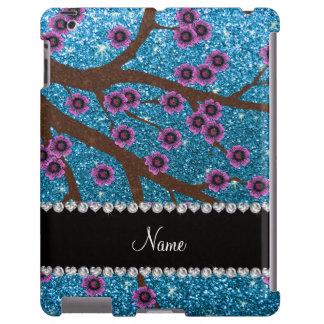 Custom name sky blue glitter cherry blossoms