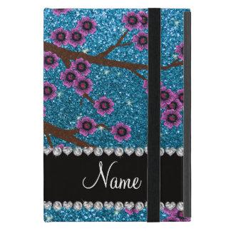 Custom name sky blue glitter cherry blossoms iPad mini case