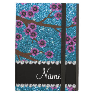 Custom name sky blue glitter cherry blossoms case for iPad air