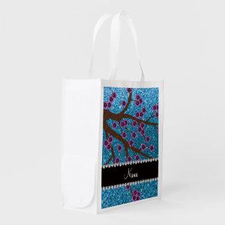 Custom name sky blue glitter cherry blossoms grocery bags