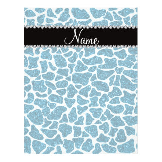 Custom name sky blue glitter giraffe flyer