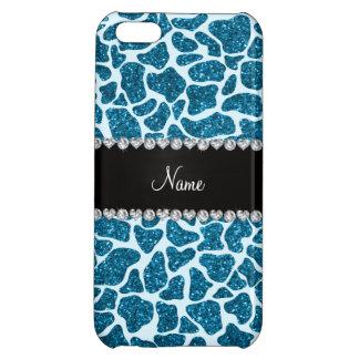 Custom name sky blue glitter giraffe iPhone 5C case
