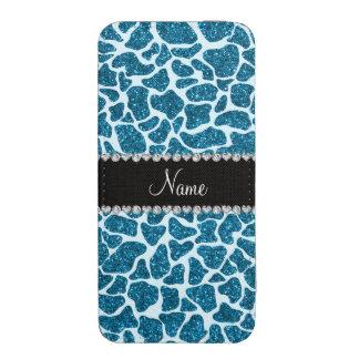 Custom name sky blue glitter giraffe