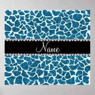 Custom name sky blue glitter giraffe print