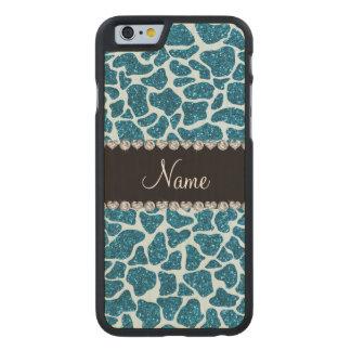 Custom name sky blue glitter giraffe carved® maple iPhone 6 slim case