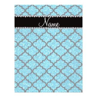 Custom name sky blue glitter moroccan flyers