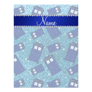 Custom name sky blue glitter police box flyer