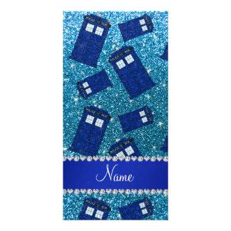 Custom name sky blue glitter police box picture card