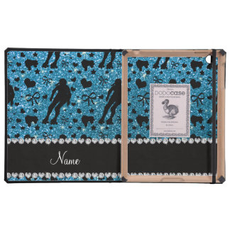 Custom name sky blue glitter roller derby iPad covers