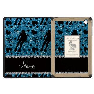 Custom name sky blue glitter roller derby iPad mini retina case