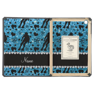 Custom name sky blue glitter roller derby cover for iPad air