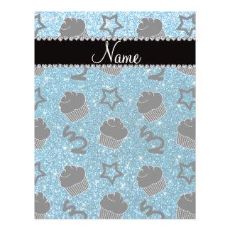 Custom name sky blue glitter stars cupcakes personalized flyer