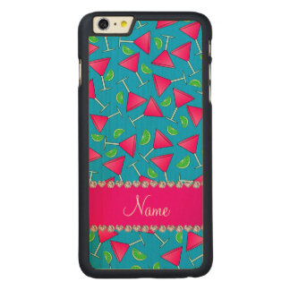 Custom name sky blue pink cosmos limes carved® maple iPhone 6 plus slim case