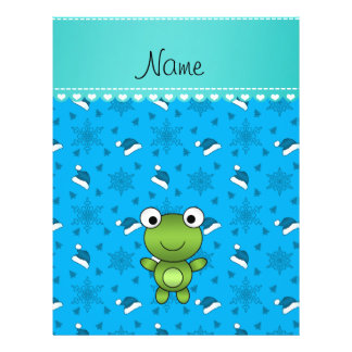 Custom name sky blue santa hat snowflakes frog flyer design