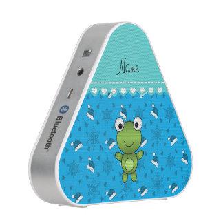 Custom name sky blue santa hat snowflakes frog speaker