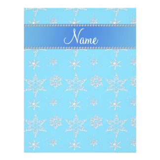 Custom name sky blue silver snowflakes blue stripe flyers