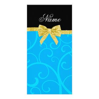 Custom name sky blue swirls gold glitter bow customized photo card