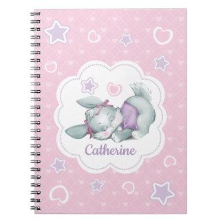 Custom name Sleeping Bunny in pink and purple Notebook
