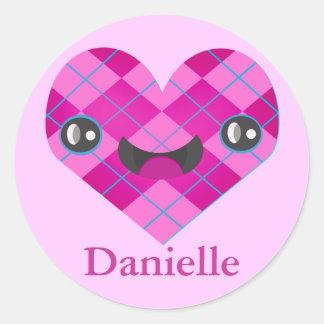 Custom Name Smiley Argyle Kawaii Heart Sticker