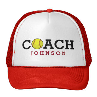 Custom Name Softball Coach Cap
