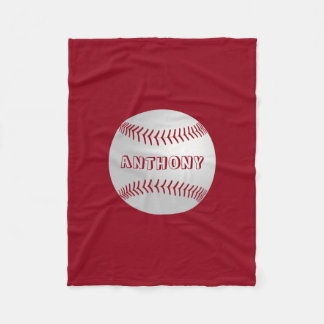 Custom Name Sports Theme Red Baseball Blanket Fleece Blanket