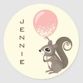 Custom Name Squirrel with Pink Balloon Classic Round Sticker