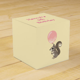 Custom Name Squirrel with Pink Balloon Favour Box