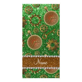 Custom name steampunk green glitter photo card template