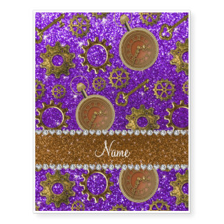 Custom name steampunk indigo purple glitter