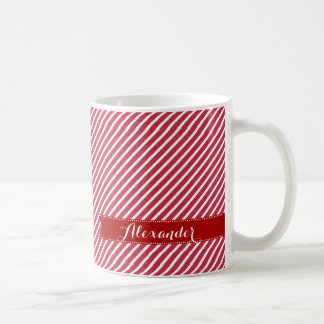 Custom Name Stripe Pattern Christmas Gift Mugs