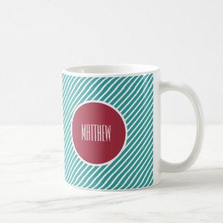 Custom Name Stripe Pattern Design Gift Mugs