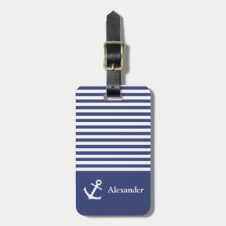 Custom Name Striped Nautica Luggage Tag