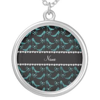Custom name teal glitter high heels bow pendants