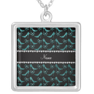 Custom name teal glitter high heels bow necklace