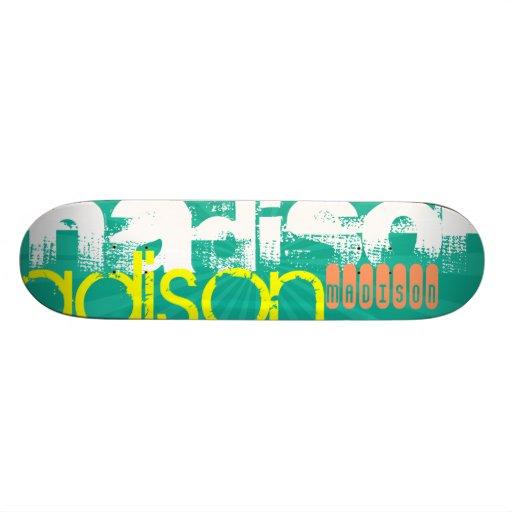 Custom Name Teal Green Custom Skate Board