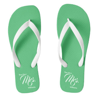 Custom Name The New Mrs. Emerald Bridal Flip Flops