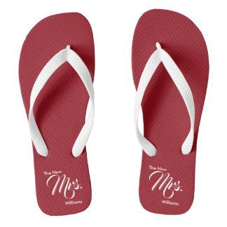 Custom Name The New Mrs. Red Wedding Flip Flops