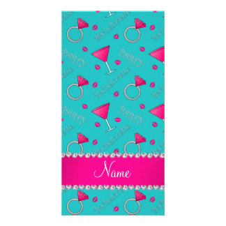 Custom name turquoise bachelorette cocktails rings photo cards