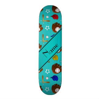 Custom name turquoise baseball glove hats balls skate decks