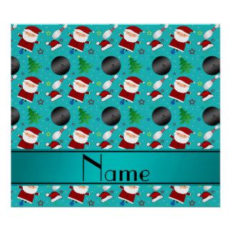 Custom name turquoise bowling christmas pattern posters