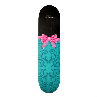 Custom name turquoise damask pink bow skate boards