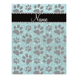 Custom name turquoise glitter black dog paws flyer design