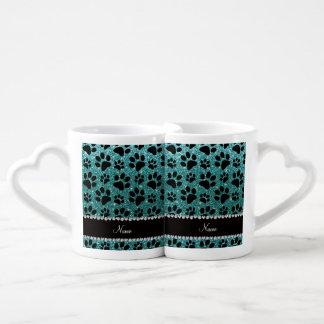 Custom name turquoise glitter black dog paws lovers mug set