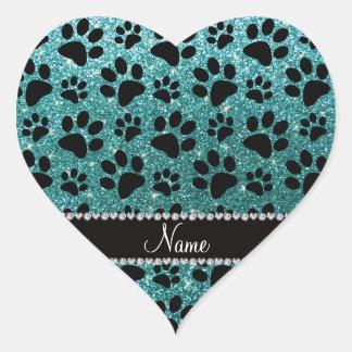Custom name turquoise glitter black dog paws sticker