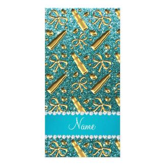 Custom name turquoise glitter gold lipstick personalized photo card