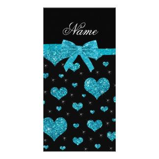 Custom name turquoise glitter hearts bow custom photo card